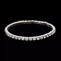 kristal bilezikler toptan satış-Ucuz Gümüş Rhinestones Gelin Bilezikler Streç Düğün Aksesuar Kristal Satır Zincir Düğün Takı Stokta 2019