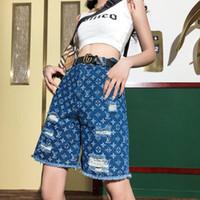 logos de hilo al por mayor-Pantalones cortos de jean de EE. UU. Para mujeres pantalones de chándal de hong kong de gama alta Logotipo de costura hilo impresión de costura pantalones cortos de mezclilla cómodos