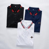 neue musterhemden männer großhandel-Neue lässige Männer Marke Designer Stickerei Biene POLO Shirt High Street Fashion Polo Damen T-Shirt lässige Schlange Muster floral gestreiften Druck