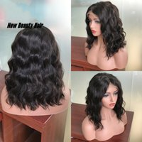 Wholesale lace wigs 1b 24 inch resale online - Natural Synthetic Lace Front Wigs for Women Short Bob Water Wavy Black B Hair Inch Natural Looking Heat Resistant Fiber Wig peruvian
