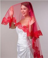 Wholesale long princess veils resale online - Princess Red White Ivory Wedding Veils Cheap Long Lace Bridal Veils One Layer Custom Made Lace Applique Edge Bride Veil