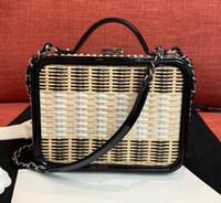 ingrosso borsa della borsa di bambù-Top Designer Borse Bamboo Rattan Weave Box Purse Vitello Patent Vera Pelle Cosmetici Flap Catena Borsa a tracolla Messenger Handbag Clutch