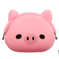 monedero rosa chicas al por mayor-Mujeres Niñas Cartera Kawaii Lindo Animal de Dibujos Animados de Silicona Jelly Coin Bag Monedero Niños Regalo Pink Pig