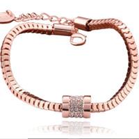 ingrosso disegno della catena dell'oro della scatola-gioielli di design zirconi bracciali in oro rosa scatola di colore catena braccialetti classico semplice per le donne moda caldo