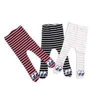 Wholesale infants stockings resale online - Toddler Infant Kid Conjoined Tights Cotton Warm Winter Autumn Baby Stocking Hosiery Striped Cute Big Eyes Baby Pants Elastic