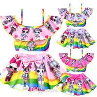 roupas de banho venda por atacado-Lol Meninas Swim Wear Crianças Biquíni Swimsuit Banho de Natação Roupas Beachwear Vestido de Praia Desgaste para a Criança Meninas Maiôs