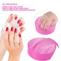 remojo de mano al por mayor-1pc Nail Art Bowl Remojo a mano Bandeja de eliminación de uñas Soaker Art Tips Wash Salon Manicure Tool Pink