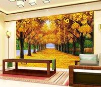 фото фото оптовых-Пользовательские Фото Обои 3D Аннотация Fortune Tree Gold Avenue Фон Росписи Настенной Живописи Гостиная Диван ТВ Фон