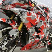 coches rojos mate al por mayor-Cheshjong Camuflaje Vinilo Scooter Coche Motocycle Wrap Matte Black White Red Camo Film Sheet DIY Styling Graphic Stickers