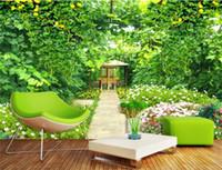 cama jardim flor venda por atacado-Personalizado 3D Foto Papel De Parede Mural Sala de estar Quarto Cama Sofá TV Mural mural Greenvine Flores Do Jardim Imagem Papel De Parede Adesivo Decoração Da Sua Casa