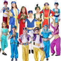 menino vestido de princesa venda por atacado-Traje da menina da Arábia do Vestido Extravagante Cosplay Outfits Roupas menina menino Oriente Médio Princesa Dubai princesa árabe pastores roupas KKA7089