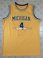chaleco de baloncesto amarillo al por mayor-Michigan State Basketball Jersey # 4 Chris Webber Top Amarillo Personalizado de cualquier tamaño, número y nombre cosido Chaleco XS-6XL de alta calidad Jerseys NCAA