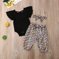 filles de tutu léopard noir achat en gros de-Vêtements d'été bébé fille Haut noir à manches courtes + pantalon à imprimé panthère + noeuds Bandeau 3 pièces pour enfants Designer Designer Girls JY472-U