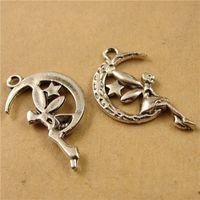 antik ay pendant toptan satış-26 * 16 MM Antik Bronz Retro ay Melek charm kolye boncuk, metal uçan peri charm cep telefonu aksesuarları takı Kore yeni