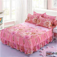 Wholesale pink floral print sheets for sale - Group buy 3pcs Floral Bed Skirt Non slip Fitted Sheet Cover Graceful Bedspread Double Lace Home Textile Cover Pillowcase colcha de camal