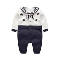 erkek çocuklar donanma kravat toptan satış-Bebek çocuk giysi tasarımcısı Erkek Kız Donanma Kravat Tasarım Romper Elbise Uzun Kollu Romper bebek giyim romper