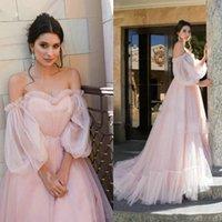 rosa mullido vestidos de talla grande al por mayor-2020 Tul Vestidos de baile rosa esponjosa princesa fuera del hombro de la manga de la linterna románticos niñas Robe de vestido de gala para Prom del tamaño extra grande
