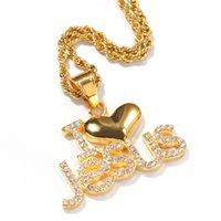 sıcak i̇sa kuyumculuk askıları toptan satış-Hediye Altın I Love Jesus için Sıcak Satış Tasarım Kolyeler Moda Rhinestone kolye Letter kolye Hip Hop Zincir Kolye Takı