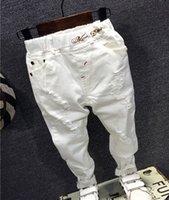 ingrosso moda jeans bambino-Bambini rotti foro dei pantaloni 2018 dei neonati dei jeans di marca di modo autunno 2-7Y bianche per bambini Pantaloni bambini Abbigliamento AQ811