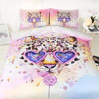 roupas de cama rosa e verde venda por atacado-Bed Covers For Girls Pink Leopard capa de edredão rainha completa doces Colcha crianças Full Size Bed Conjunto Meninas NO Consolador Amarelo Verde Azul