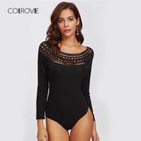 ingrosso bodysuits sexy nero per le donne-COLROVIE nero scava fuori spalla solido Night Out sexy skinny Body autunno Scoop manica lunga delle donne eleganti Body