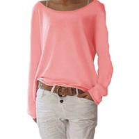 uzun tişört artı boyutu toptan satış-Seksi Kadınlar TShirt Bahar En Tee Rahat O Boyun Uzun Kollu Gömlek Pamuk T-Shirt Tops Katı Örme Blusas Artı Boyutu S-3X 6Q0639