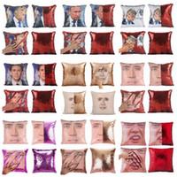 escritório de sofá venda por atacado-Trump Lantejoula Pillowcase DIY Mermaid reversível Sofá Decor Car Almofada Lance fronha Home Office Natal decoração ZZA1179 20Pcs