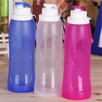 taza de silicona plegable al por mayor-500 ML Creativo Plegable Bebida de Silicona Deporte Botella de agua taza Ciclismo Portátil Viajes Viajes Plástico Bicicleta Botella ZZA236