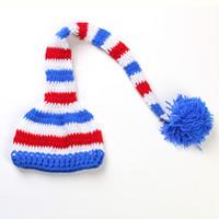 многоцветная детская пряжа оптовых-Оптовая последняя европейский и американского горячего ребенок длинного хвоста Рождество шляпы рука вязаной шапка крышка для ног