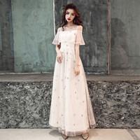 genç kadın parti elbiseleri toptan satış-Zarif Şampanya Kadınlar Çin Elbise Genç Kız Tatlı Uzun Cheongsam Yıldız XS-XXL Vestidso De Dresses Gelin Düğün Kıyafeti