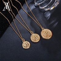Wholesale silver multiple chain necklace for sale - Group buy Vintage Carved Coin Necklace For Women Fashion Gold Color Medallion Necklace Multiple Layers Pendant Long Necklaces Boho Jewelry