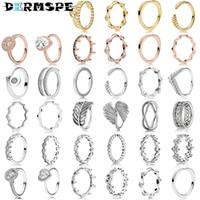 ingrosso gioielli anelli congiunti d'argento-2018 Nuovo 100% 925 Sterling Silver Magic Crown Ring 187087NCK Fashion Stack Wear Joint Ring Femminile Designer di gioielli di lusso