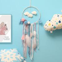 hayal tutucu asmak toptan satış-Kesintisiz Bulutlar Dreamcatcher Tüy Genç Kız Catcher Ağ LED Rüya Catcher Yatak Odası Asılı Süsleme Yenilik Öğeleri CCA11744 50 adet