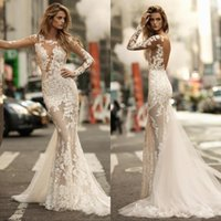 Wholesale gorgeous long lace black dress for sale - Group buy 2019 Long Sleeves Gorgeous Mermaid Wedding Dresses Sexy Sheer Full Lace Applique Bride Dress See through Backless Bridal Gowns