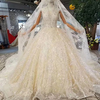 Wholesale lace styles photos for sale - Group buy Tank Style Wedding Gown With Wedding Veil Deep V Neck Sleeveless Sparkly Wedding Dress Champagne With Shiny Long Train Applique Bridal Gown