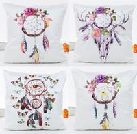 Wholesale bird catcher resale online - Dream Catcher Flower Birds Feather Butterfly Skull Cushion Cover Pillow Covers X45cm Decorative Sofa Pillow Case for Seat