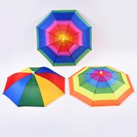 tête de parasols achat en gros de-En plein air Pliable Soleil Parapluie Chapeau Arc-En-ciel Adulte Enfants Golf Pêche Camping Ombre Plage Chapeaux Cap Tête Chapeaux TTA1738