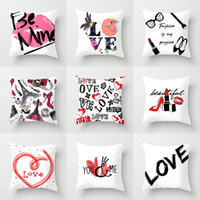 Wholesale made chair covers resale online - Fashion Lady Make Up Sexy Lip Cushion Covers Love Be Mine Letter Lipstick Cushion Cover Pillow Case Sofa Chair Decoration