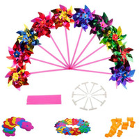 Wholesale kids winding toys for sale - Group buy Colorful Novelty Toy Plastic Windmill Pinwheel Self assembly Flower Wind Spinner Kids Toy Gift For Boys Girls Baby Color Random