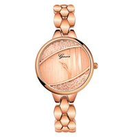 montre bracelet en cristal rond achat en gros de-Montre de mode pour femmes de luxe en acier inoxydable bande analogique Quartz Montres-bracelets design créatif Bracelet en cristal de dames