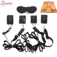 Wholesale sex foot game resale online - Adult game Hand Feet Wrist Thigh Strap Bondage sex toys Hand s Eye Mask Intimate sex toys Adult sex toys for Couples Y191203