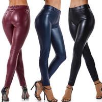 siyah deri bacak tozları toptan satış-Sahte Deri Tozluklar Lacivert Seksi Kadınlar Leggins İnce Siyah Tayt Arka Cep Şarap Kırmızısı Sıkı Leggins Push Up
