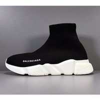 Wholesale black white flat buttons resale online - 2019 NEW Brand Men Women Sock Shoes Black White Red Designer Shoes High Running Shoes Trainer Fashion Boots Sport Sneakers