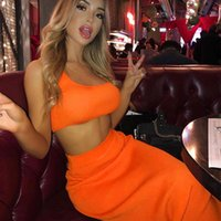 ingrosso lunga gonna arancione-Abbigliamento donna Foto reali 2019 estate nuove donne sexy vestito arancione verde collo a vita alta delle donne della maglia corta collo a vita alta