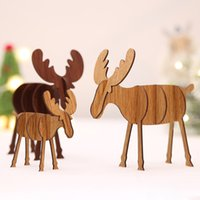 Wholesale home bar ornaments for sale - Group buy 2019 New DIY Wooden Elk Ornaments Christmas Decoration Ornaments Children s Toys For Home Bars Shopping Malls Festive Pendant