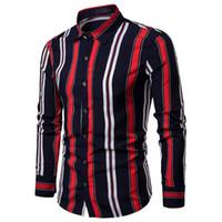 weiße streifen kleiden großhandel-Mens Hemden Stilvolle Doppelstreifen Revers Herren Langarmhemd Kleidung Slim Fit Weiß Schwarz Neu
