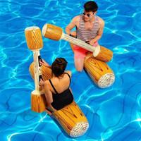 conjunto de natação inflável venda por atacado-Verão ao ar livre piscina de praia inflável anéis de natação mulheres homens dupla batida Swim Log vara Set anel piscina esportes aquáticos 4 pçs / set
