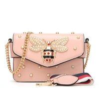 ingrosso borsa di colore della perla-La borsa all'ingrosso delle donne di marca della borsa della nuova catena della perla bag le piccole api chiudono a chiave il sacchetto del messaggero di colore personalità borsa a tracolla delle donne