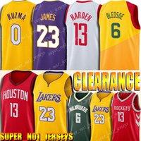 satılık basketbol topları toptan satış-18 19 Sezon LeBron 23 James Jersey James 13 Harden Formalar Satış 6 Eric Bledsoe Jersey Kyle 0 Kuzma Basketbol Formalar tanıtın