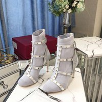 Wholesale gladiator stiletto boots resale online - Perfect Official Quality Studded Boots Gladiator Spikes High Heels Shoes Trendy T closure Ankle Booties Bodytech Caged Ankle Boots